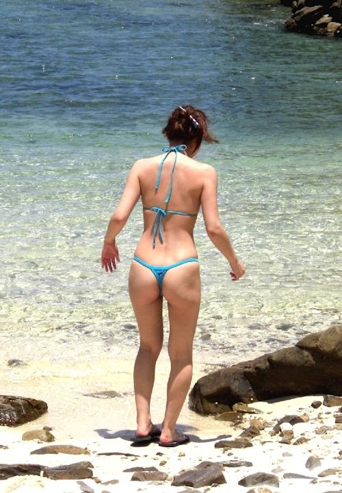 素人女性ビーチ野外露出ヌード画像 1