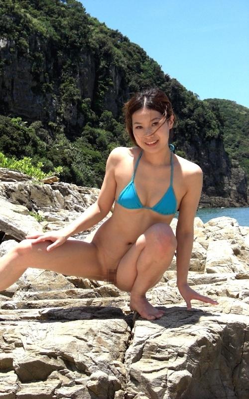 素人女性ビーチ野外露出ヌード画像 6