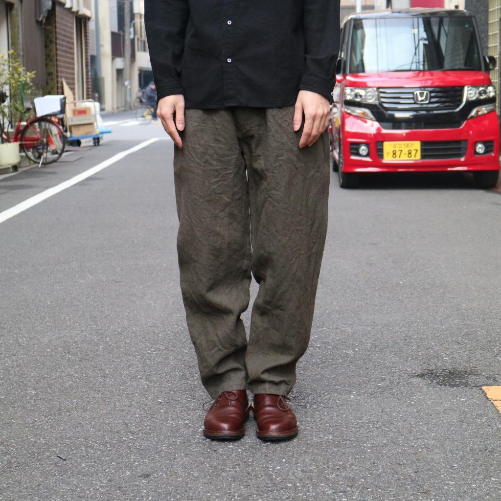 亜麻苧麻パンツ濃緑