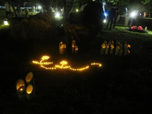 2018 10 7 竹燈夜 野外生け花アート展